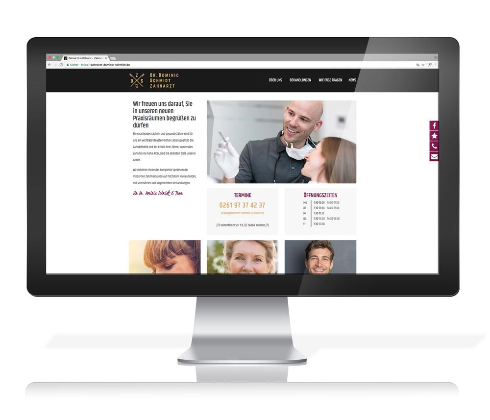 Webseite Zahnarzt Dr. Schmidt Koblenz