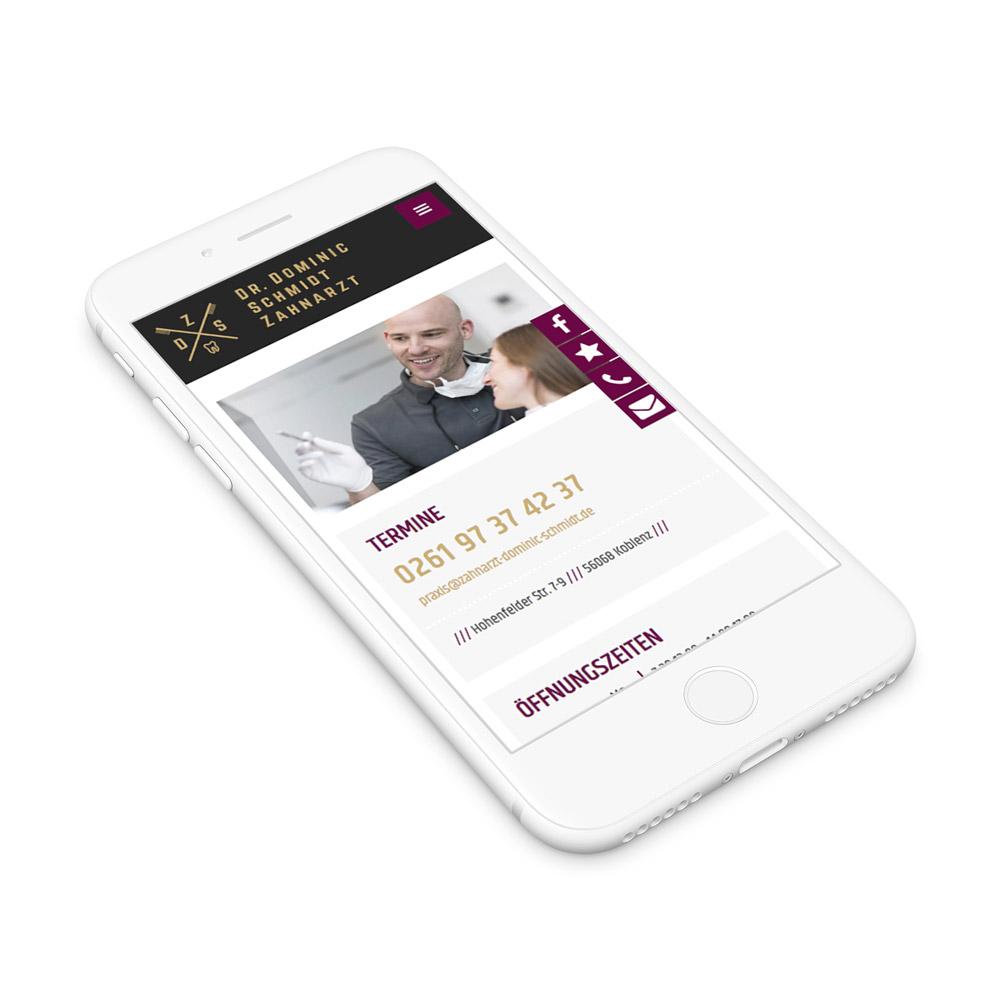 Webseite Zahnarzt Dr. Schmidt Koblenz – Mobile